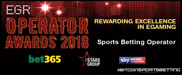 Bet365, 2 Other Big Bookies Shortlisted for EGR 2018's Sports Betting Operator Award
